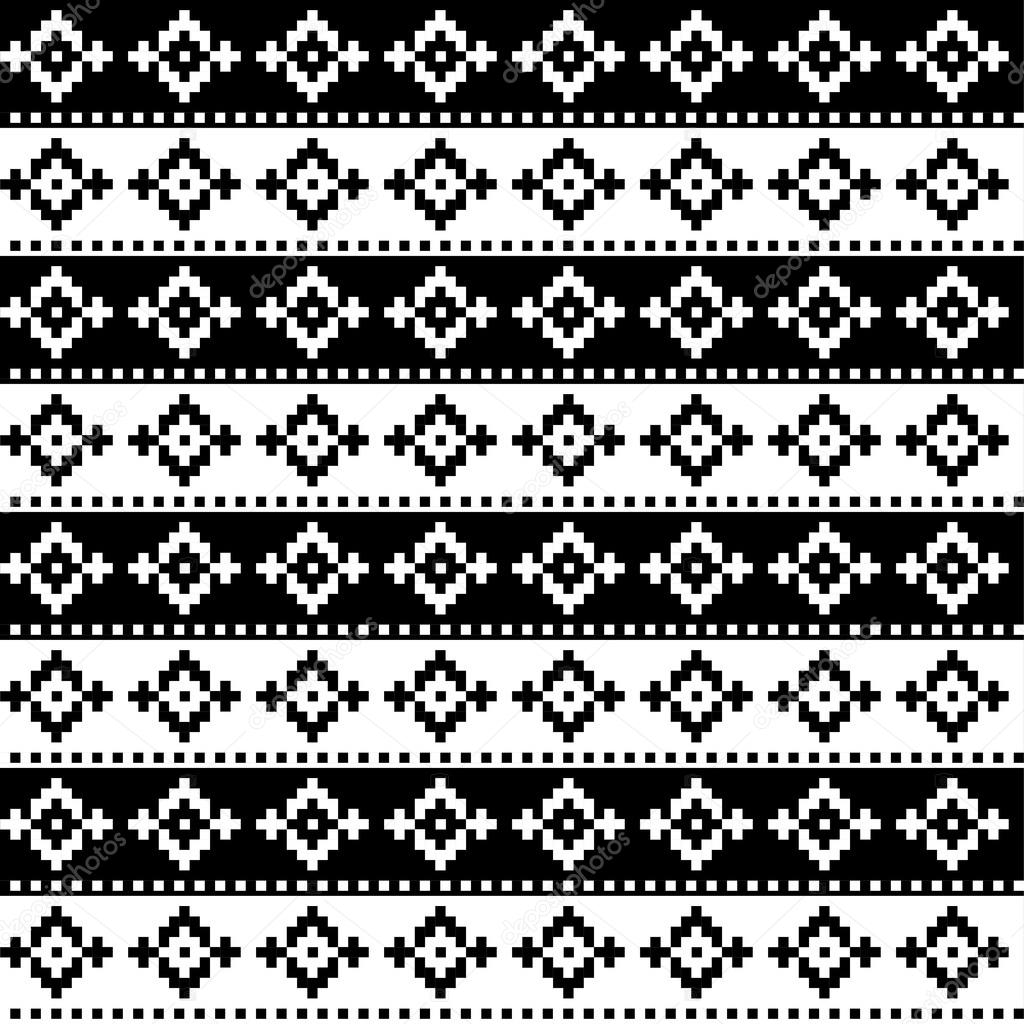 Seamless Pixel Black And White Patterns Print Cloth Design