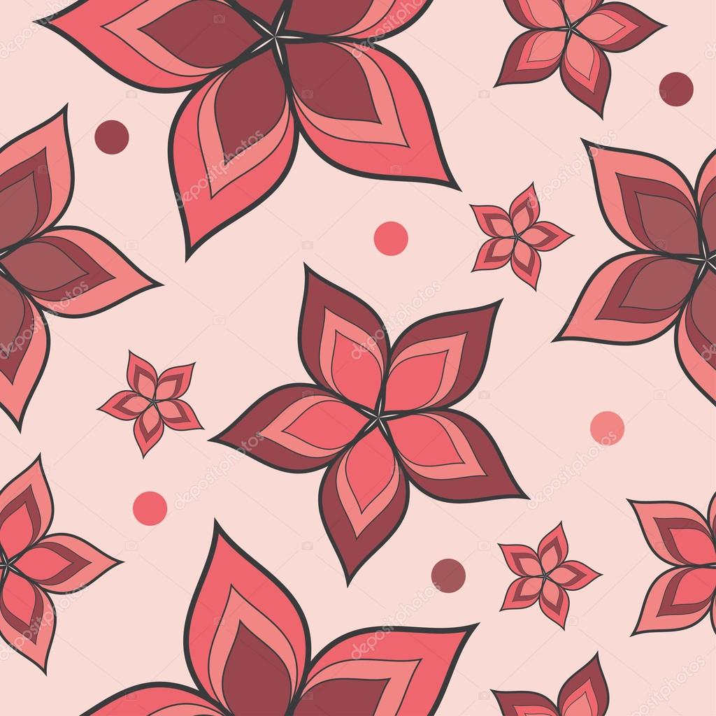 Seamless vector background with decorative flowers and polka dots