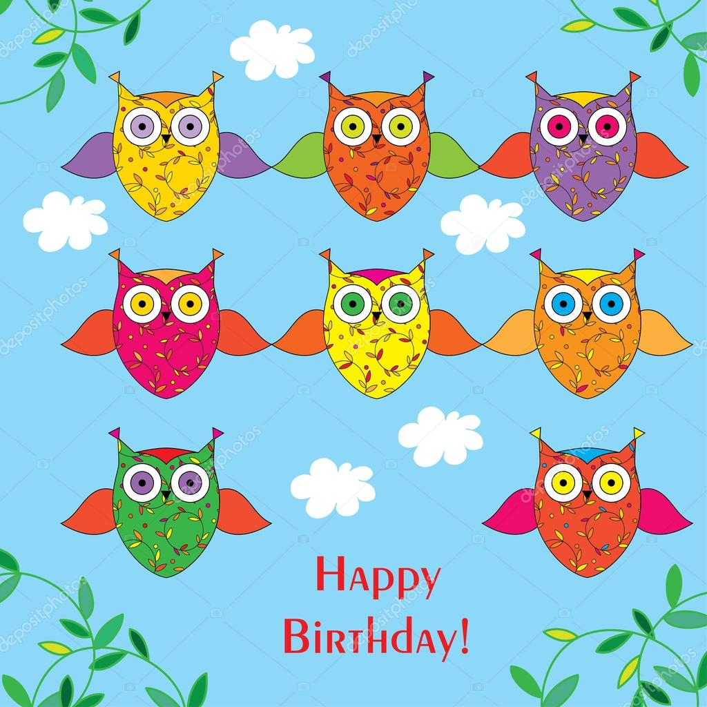 Greeting card with decorative owls Happy Birthday!