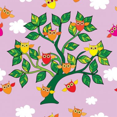 Seamless decorative vector background with owls on the tree