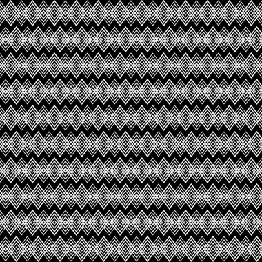 Seamless black and white decorative vector background with with zigzag lines