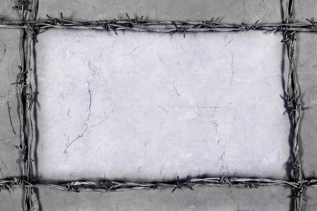 marco de alambre de púas sobre el fondo gris — Fotos de Stock ...