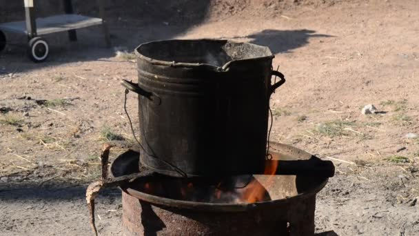 Outdoor Fireplace With Cooking Pot Stock Video C Aaron007 85105344