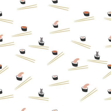 Rolls with seafood. Seamless vector pattern. icon