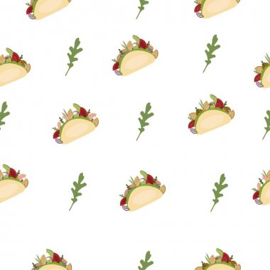 Fastfood and arugula. Seamless vector pattern. icon