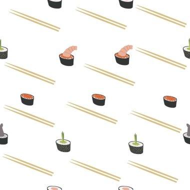 Seefood rolls. Seamless vector pattern. icon