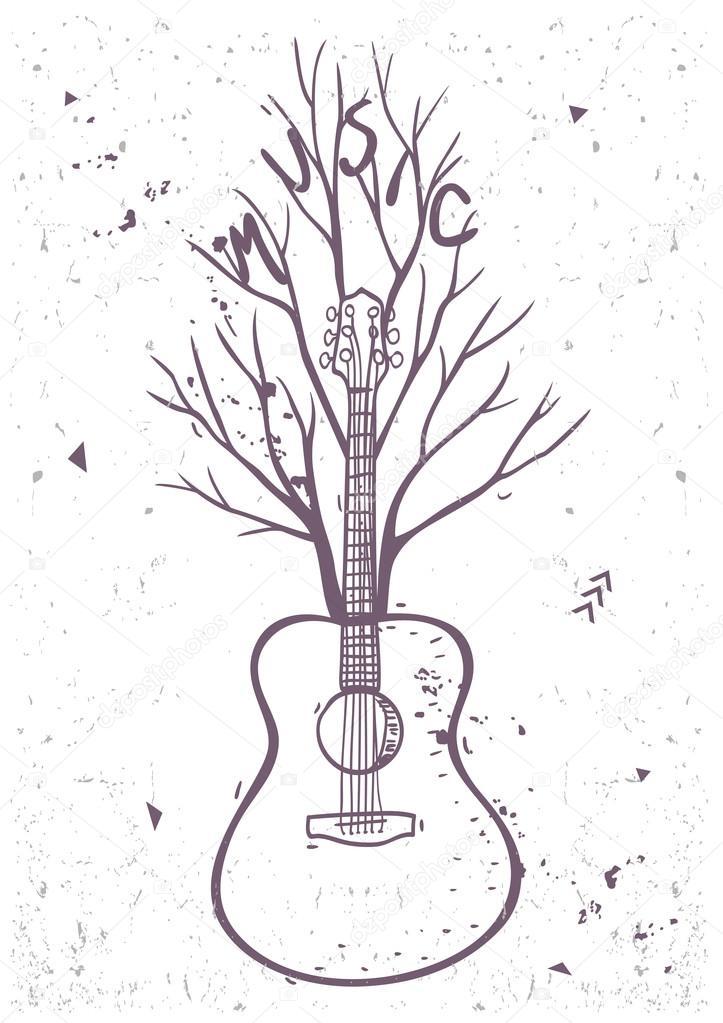 árbol de guitarra — Vector de stock © Lianka #86016268