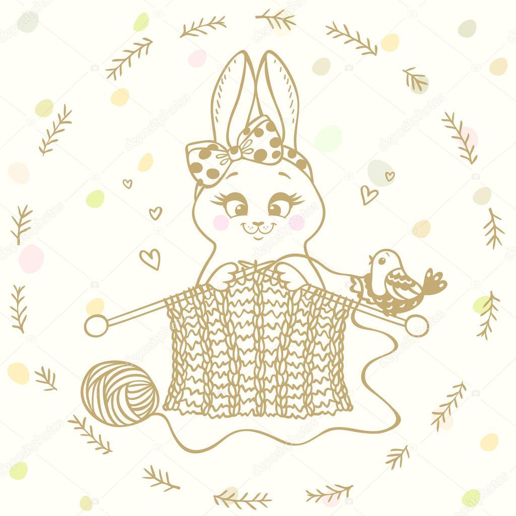 agujas de tejer de conejito — Archivo Imágenes Vectoriales © Lianka ...