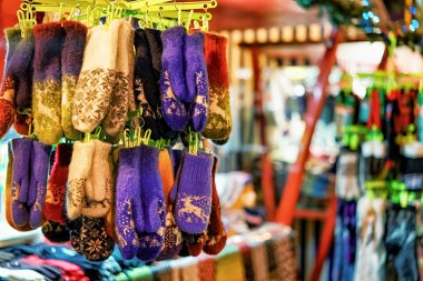 Stall with woolen gloves at Riga Christmas Market