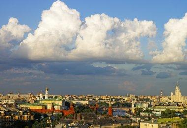 Cumulus clouds over Moscow city center and Kremlin panorama skyl