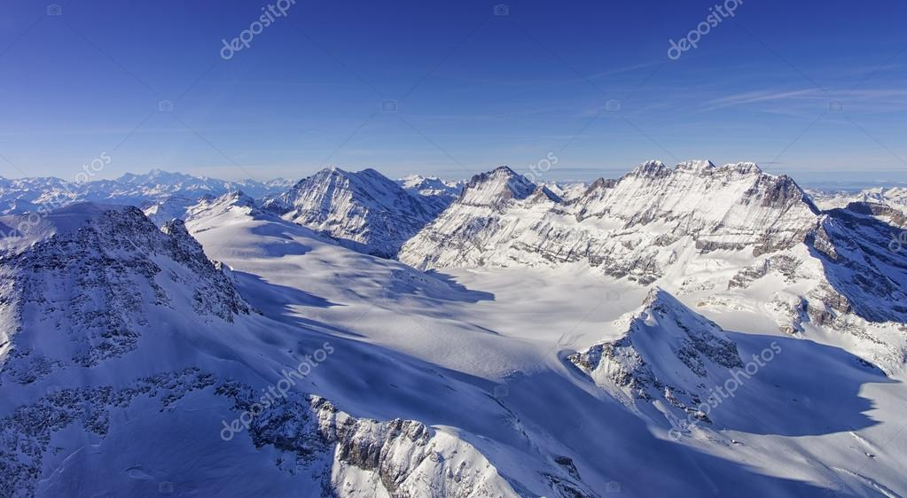 Ice flow Valley in Jungfrau region helicopter view in winter