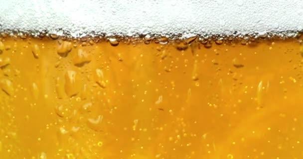 bubliny hnutí uvnitř sklenice piva s kapkami a pěnou jako pozadí