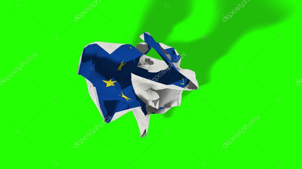 Austritt, Rollende Zerknittertes Papier Mit Europaflagge, Schengen Krise In  Der Eurozone, Chroma
