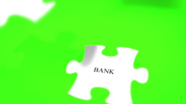 puzzle složit slovo finanční koncept na chroma klíč zelené pozadí