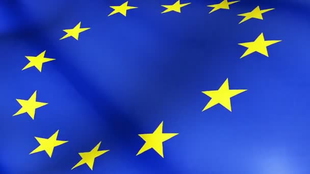 close up of waving flag of european union, yellow star and blue background, eu flag