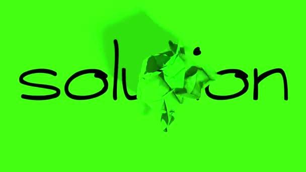 válcování zmačkaný papír efekt, s chroma klíč zelené pozadí, s slovo problém řešení úspěch koncepce