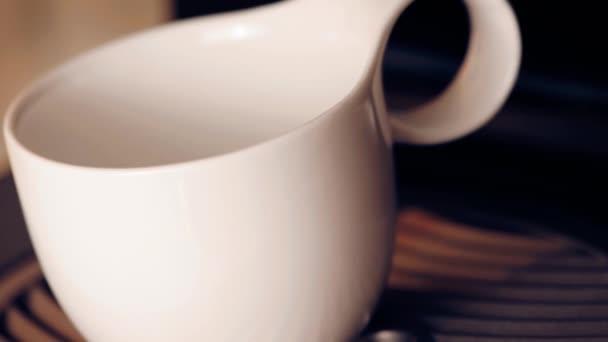 Coffee machine making cappuccino espresso coffee, relax time concept