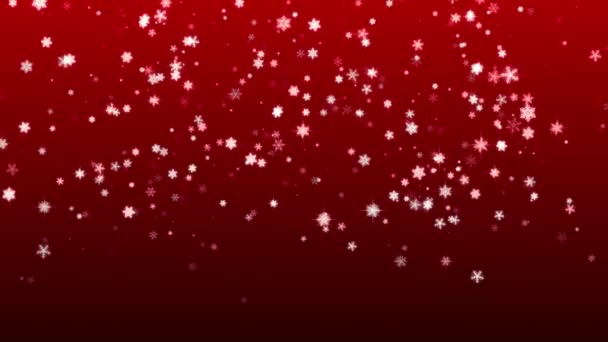 Christmas red background with snowflakes falling snow holiday xmas with stars hd