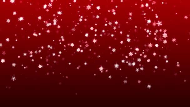 Vánoční červené pozadí s sněhové vločky padající sníh dovolená Vánoce s hvězdy hd