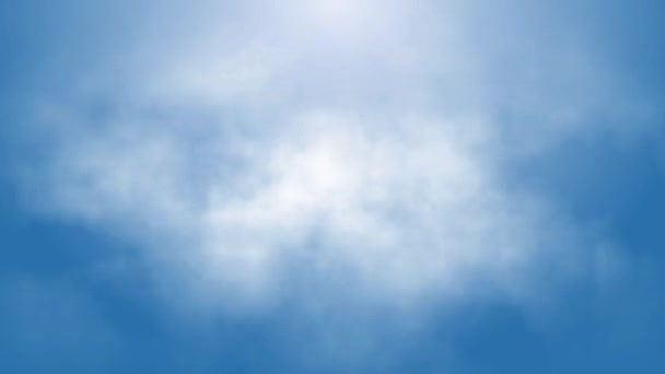 Flight over white clouds under blue sky background, seamless loop ready animation