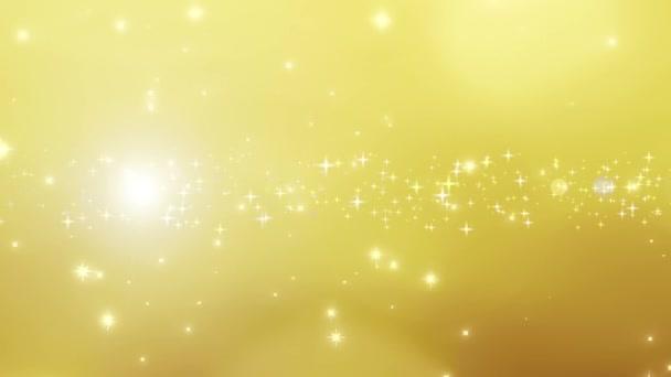 Sfondo di Natale doro con particelle bokeh frizzante e flare, oro