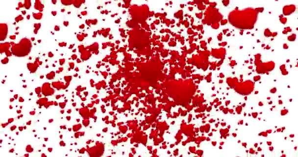 Digitální červené srdce letí ve víru na bílém pozadí s doznívat, bezešvé smyčka. rozlišení 4k a 1080