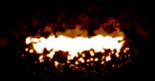 Digitální realistický oheň plamen na černém pozadí bezešvá smyčka s prázdné znaky pro text