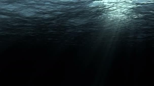 High quality perfectly seamless loop digital animation of deep dark ocean waves from underwater background, light rays shining through