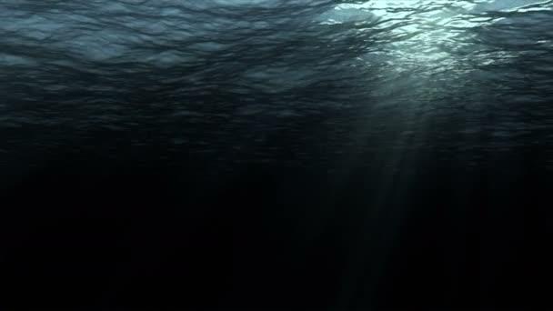 Kiváló minőségű tökéletesen varrat nélküli hurok digitális animáció-a sötét ocean hullámok a víz alatti háttér, átszűrődő fény sugarai
