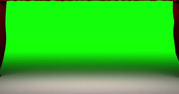 High quality animation perfectly red curtain theater closing movement background. Green screen included