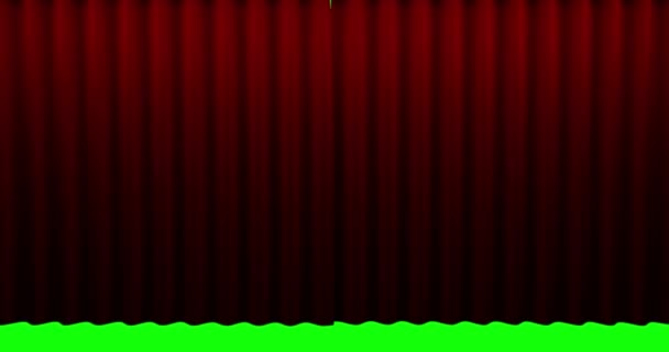 High quality animation perfectly red curtain opening movement background. Green screen included