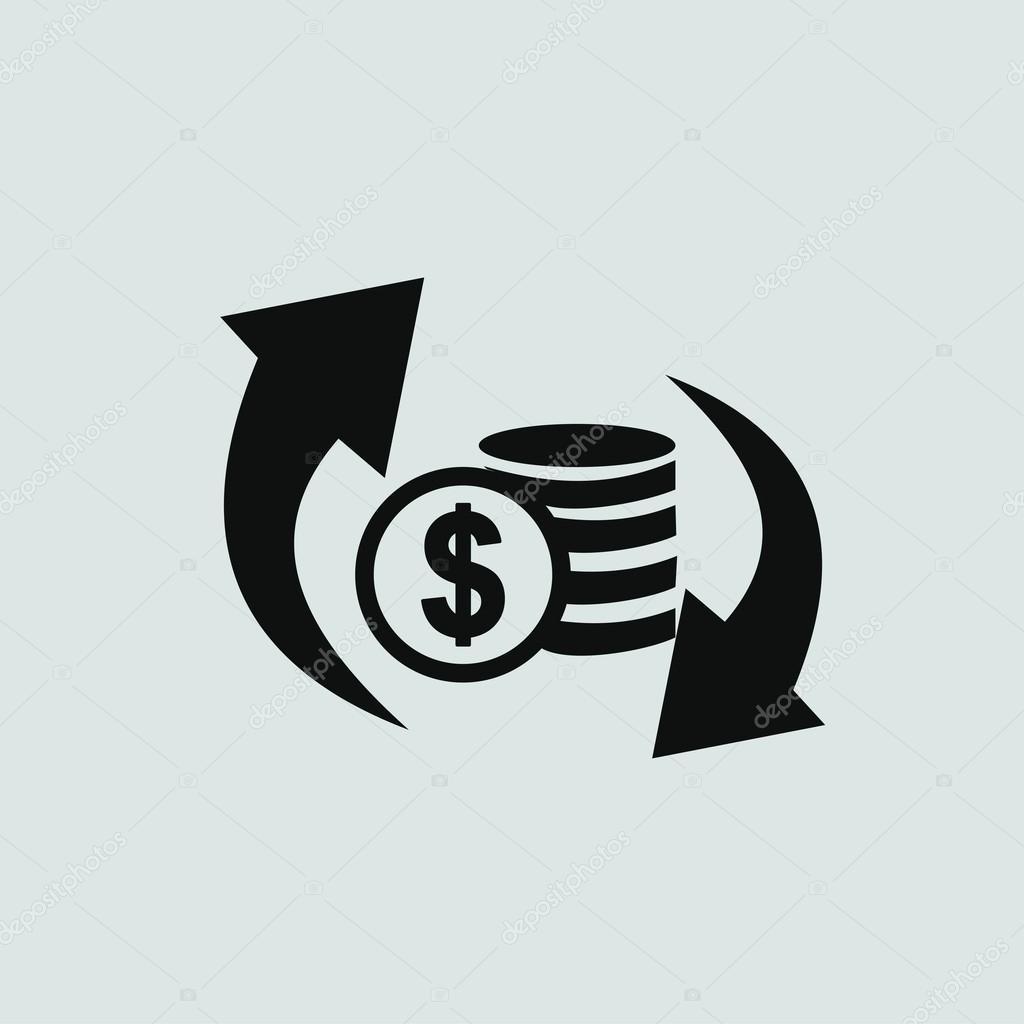 conversor de divisas cambio de icono vector de stock