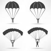 Parachute, paratrooper Icons set