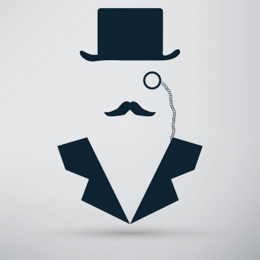 Bowler hat and mustache icon