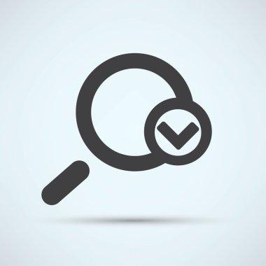Magnifying glass, checkmark icon