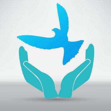 Dove in hands symbol