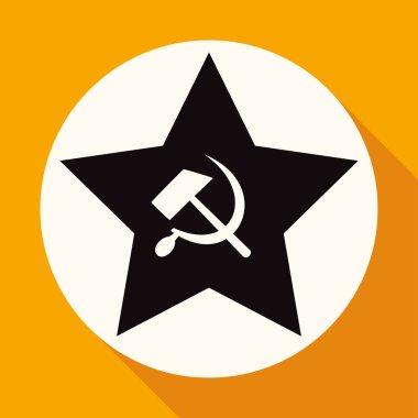 Icon of socialist star, sickle, hammer