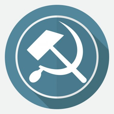 Icon sickle hammer on white circle