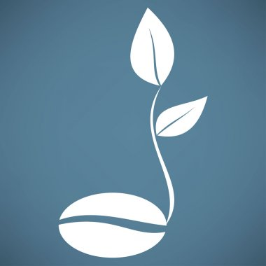 coffee bean with seedling icon