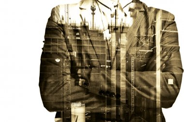 Double exposure Businessman or Civil Engineer stand with Constru