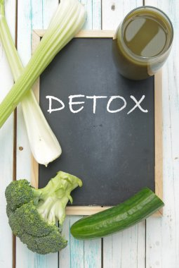 Detox, vegetable smoothie and ingredients