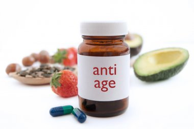 Medecine jar with anti aging pills
