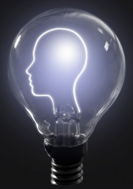 Light bulb human profile