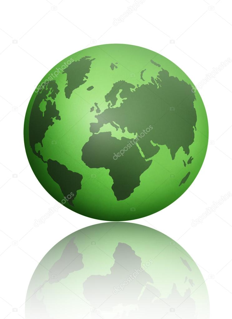 Green world atlas globe