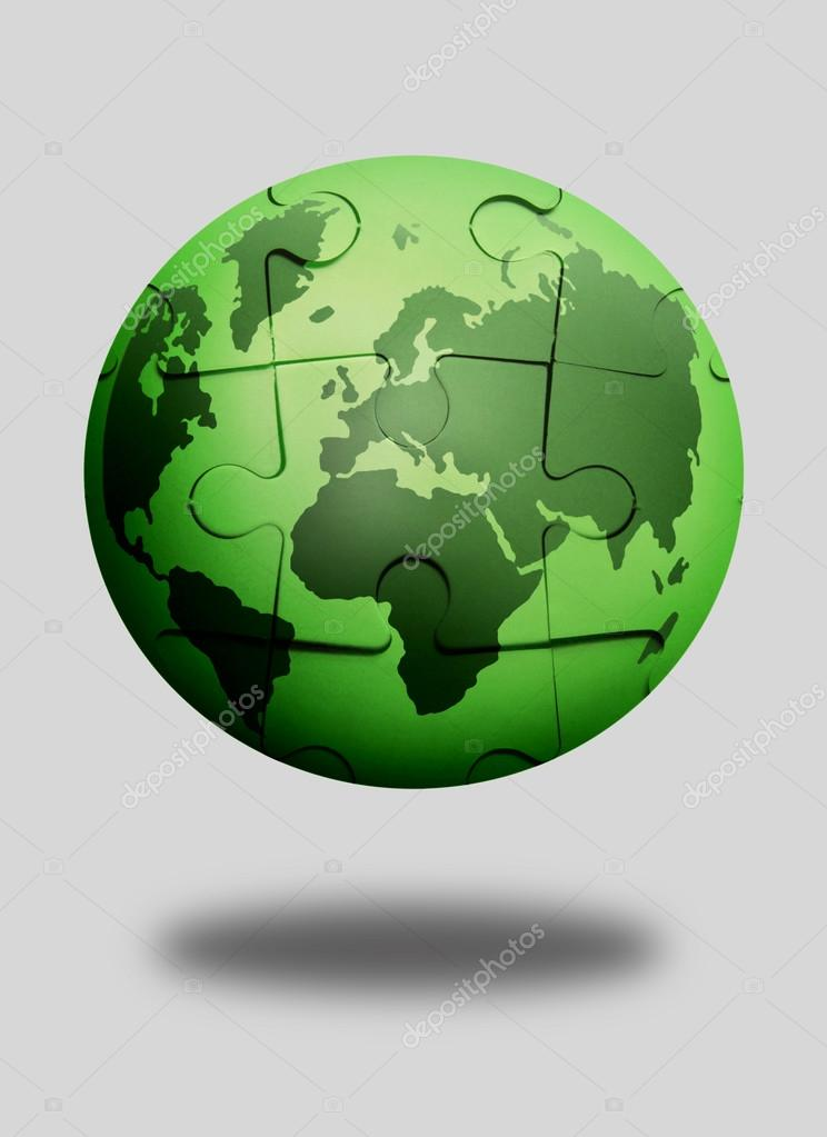 Green jigsaw puzzle globe