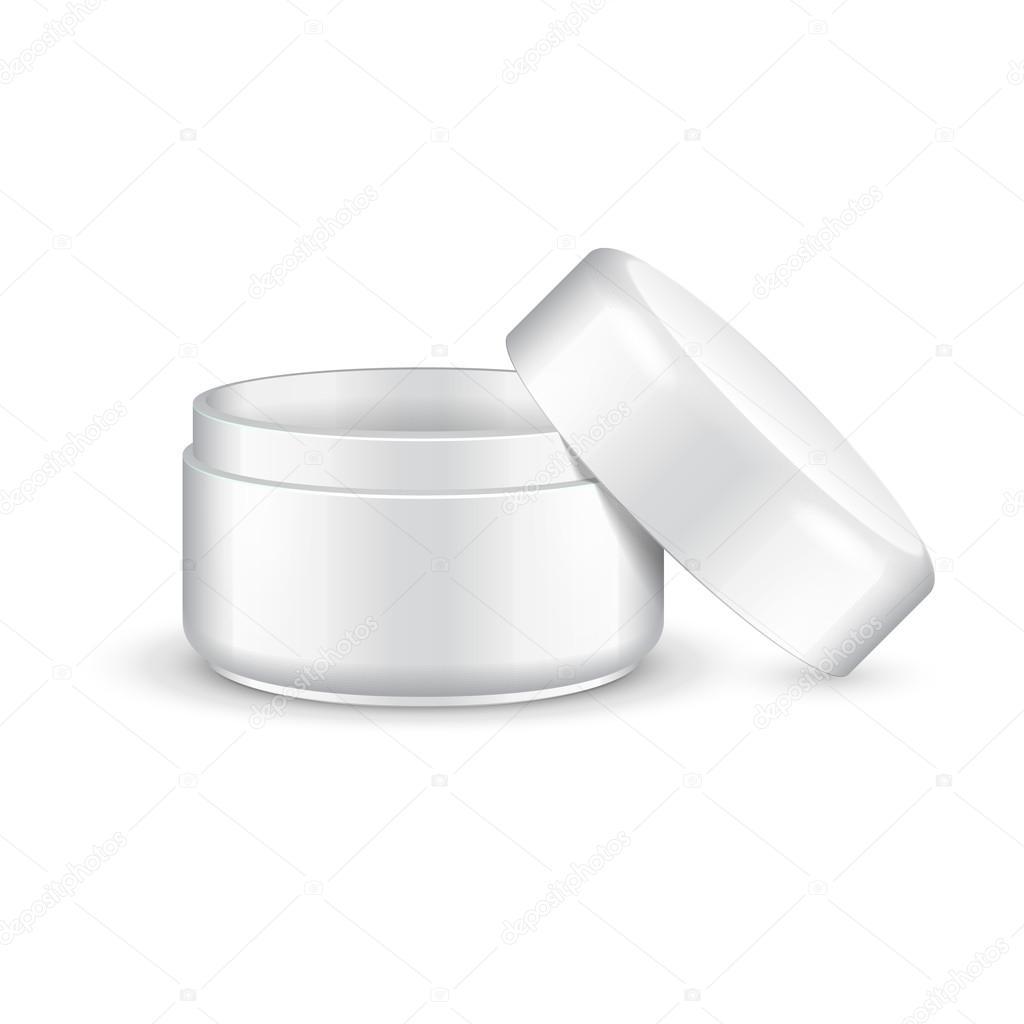 opened empty cream gel or powder light turquoise jar can cap