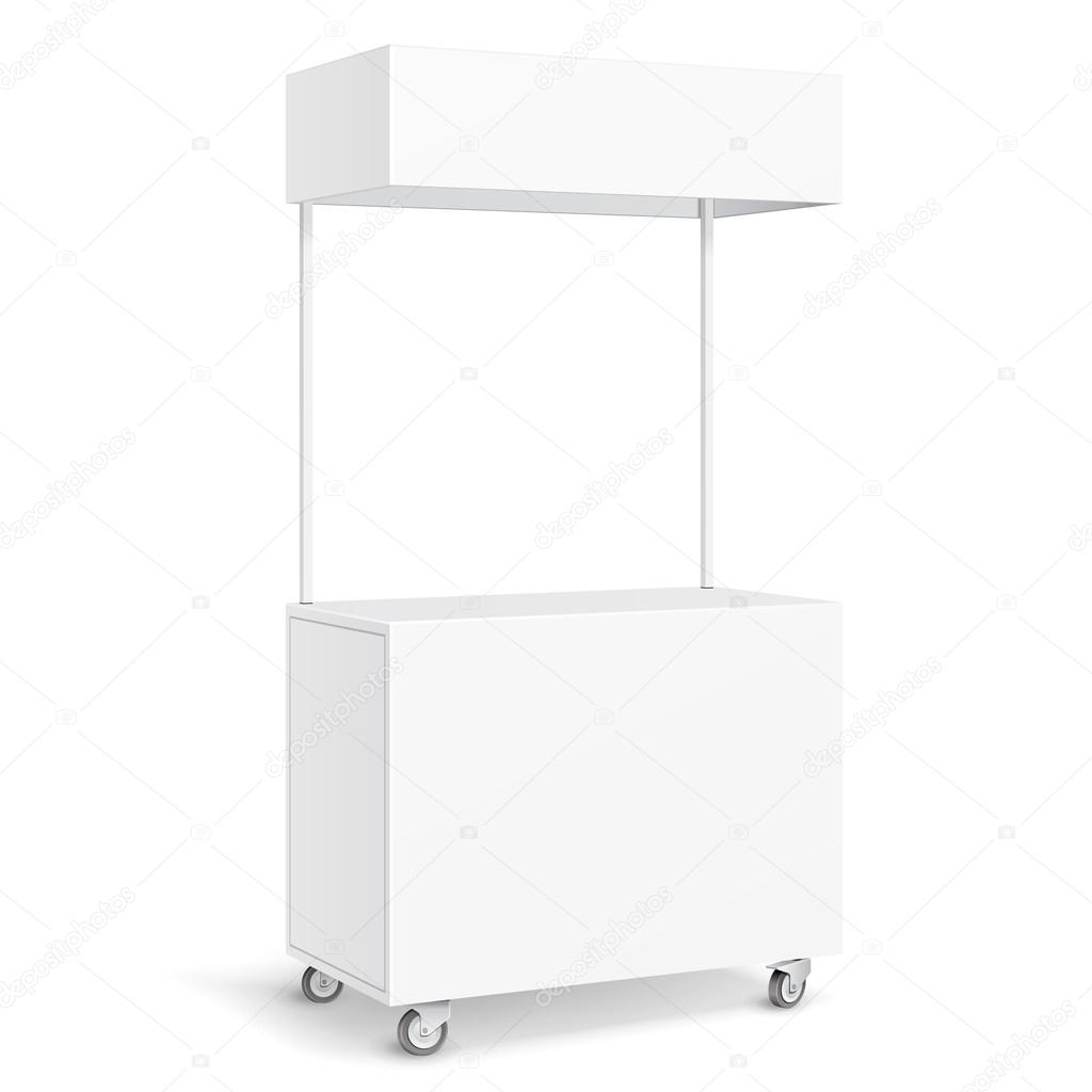 White pos poi blank empty retail stand stall mobile bar display white pos poi blank empty retail stand stall mobile bar display with roof canopy banner fast food on white background isolated mock up template ready pronofoot35fo Images