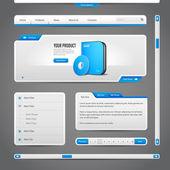 Webové uživatelské rozhraní určuje prvky šedé a modré na tmavém pozadí: navigačního panelu, tlačítka, forma, jezdce, dialog, Menu, záložky