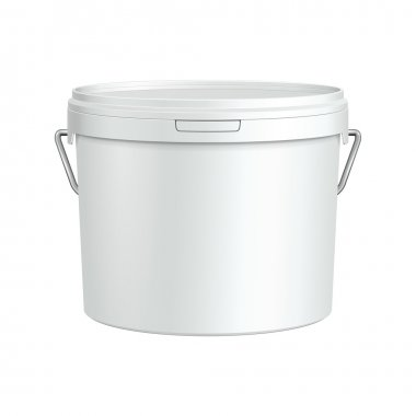 White Tub Paint Plastic Bucket Container With Metal Handle. Plaster, Putty, Toner. Ready For Your Design. Product Packing