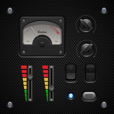 Carbon UI Application Software Controls Set. Switch, Knobs, Button, Lamp, Volume, Equalizer, Voltmeter, Speedometr, Indicator